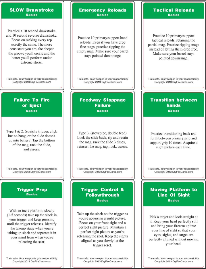 Sample Dry Fire Training Cards
